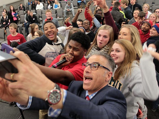 "Mark Galbo of Rock and Roll Academy takes a selfie with students who took part in the ""Find Your Spark"" event at Sharonville Convention Center. RRA was launched in Cincinnati as part of a Straight A grant awarded to the Hamilton County Educational Service Center."