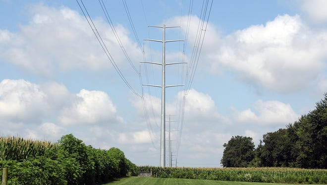 An image showing a typical double-circuit steel monopole, which is the structure type Transource plans to use for the construction of its proposed transmission lines.