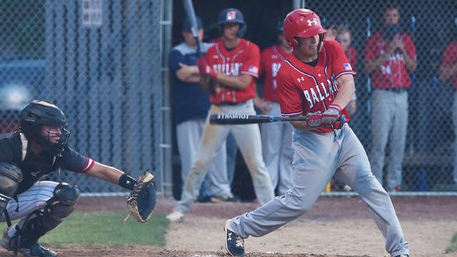 Mason Askelsen had a clutch two-run single with two outs in the bottom of the seventh inning to force an extra inning against Adel-Desoto-Minburn Monday at Nite Hawk Field in Slater. Ballard eventually fell in eight innings, 4-2, but they are still tied atop the Raccoon River Conference standings and Askelsen is a big reason why. He is hitting .405 with 16 RBIs through 12 games. Photo by Nirmalendu Majumdar