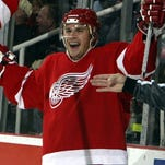 Detroit Red Wings forward Ray Whitney celebrates his goal against  Columbus in 2003.