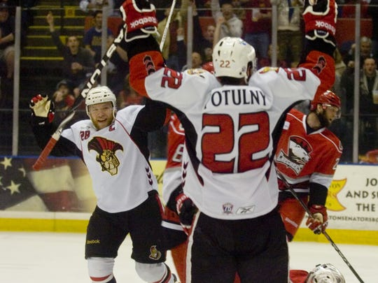 Ryan Keller celebrates after Ryan Potulny scored in Game 4 of the Eastern Conference finals at the Arena.