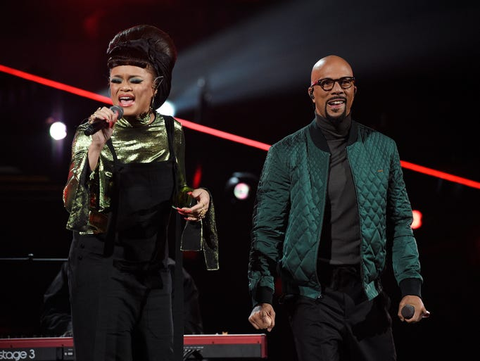 Andra Day, left, and Common perform during NBA All-Star