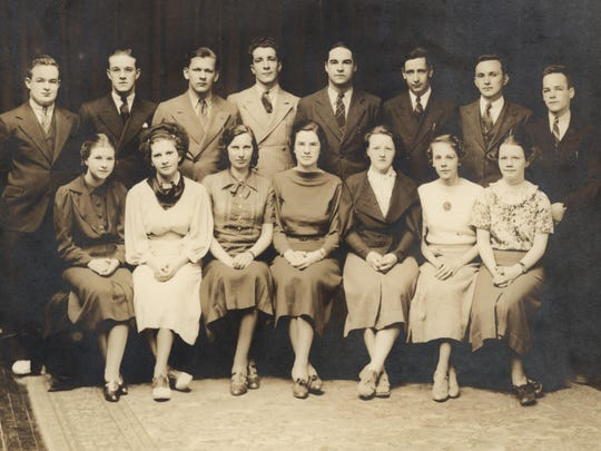The Champlain College yearbook staff in 1936.