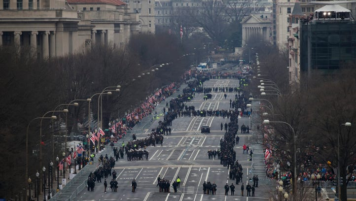 Police officers fill Pennsylvania Avenue in preparation