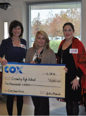 From left: Julie Dronet, Cox Acadiana Market Vice President; Brandy Middlebrooks, Crowley High School; Patricia Thompson, Cox Communications