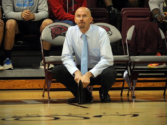 Maryland Eastern Shore volleyball coach Toby Rens watches his team battle VCU on Sept. 27, 2016 in Princess Anne.