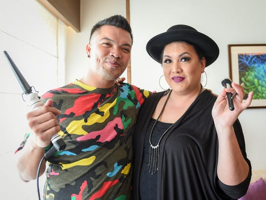Hairstylist Raymond Santos, left, and makeup artist
