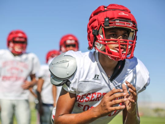 Desert Mirage football team practice on Wednesday,