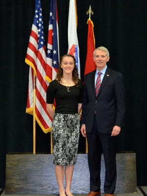 Mansfield Senior High School student Caitlynne McLaughlin posed for a picture with Sen. Rob Portman during a recent reception for nominees to service academies.