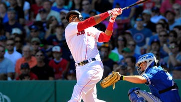Red Sox left fielder Yoenis Cespedes bats on Sept. 7.