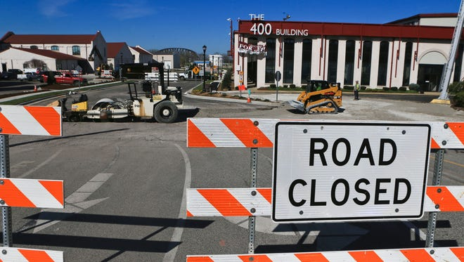Court Avenue that runs through Watertower Square is slated to be completed April 15. The street will connect Jeffersonville and Clarksville as part of a $2 million project that will provide an easier route.
