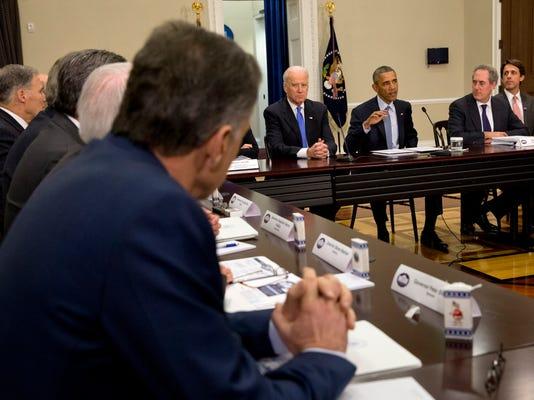 Barack Obama, Joe Biden, David Simas, Michael Froman