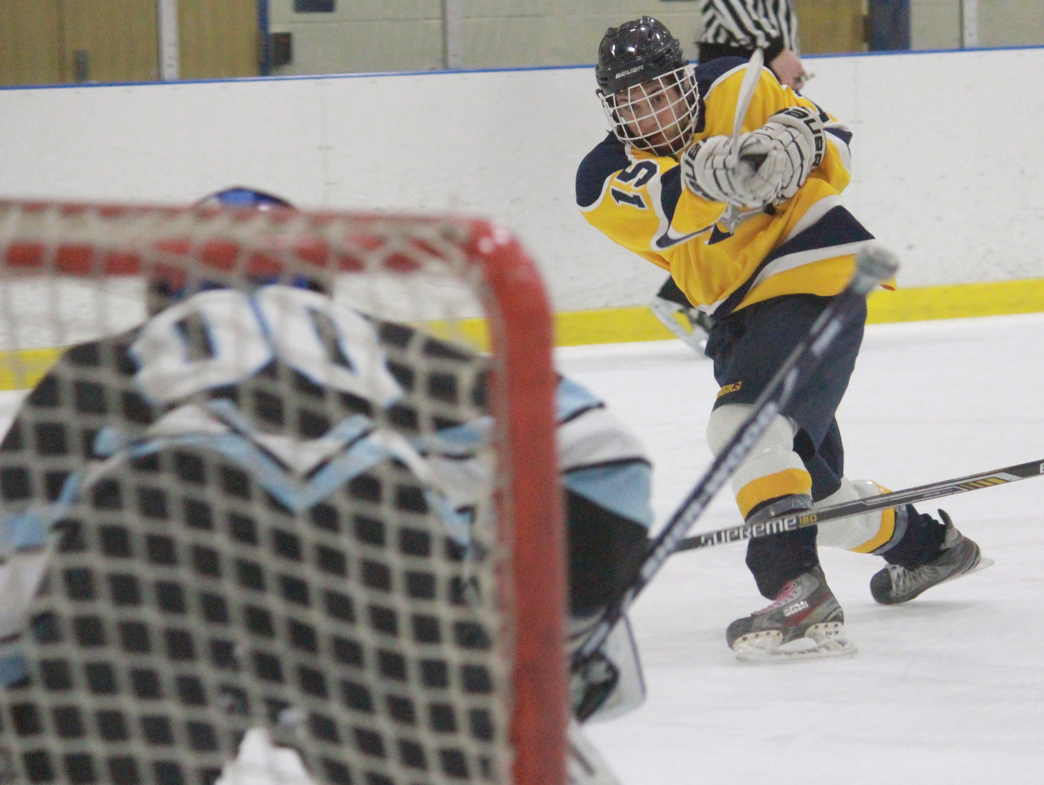 Nick Pica fires a shot on net and will lead Toms River North into 2015-16.