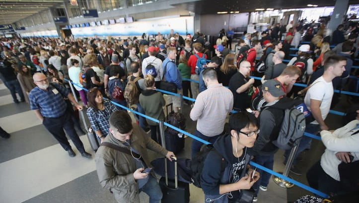 Airport security lines.