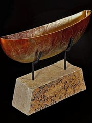 """Narrowed Form,"" bronze by C.T. Whitehouse, part of Exhibit V at Edgewood Orchard Galleries."