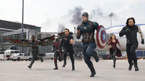 The Falcon, Ant-Man, Hawkeye, Captain America, Scarlet