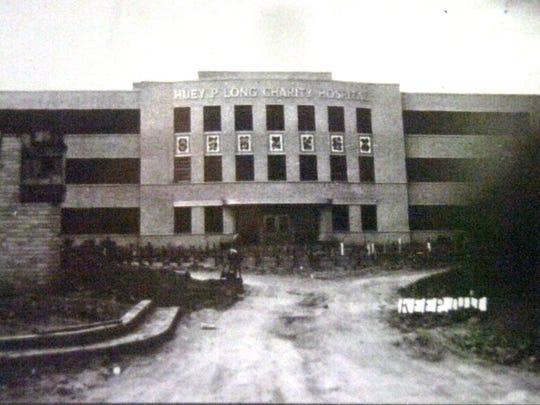 This photo was apparently taken during construction of the state's charity hospital in Pineville in the 1930s. The hospital was originally referred to as Mid-State Charity Hospital, and later was known as Huey P. Long Charity Hospital, then Huey P. Long Memorial Hospital and finally Huey P. Long Medical Center. The hospital closed a little over a year ago, but the building has now been added to the National Register of Historic Places.