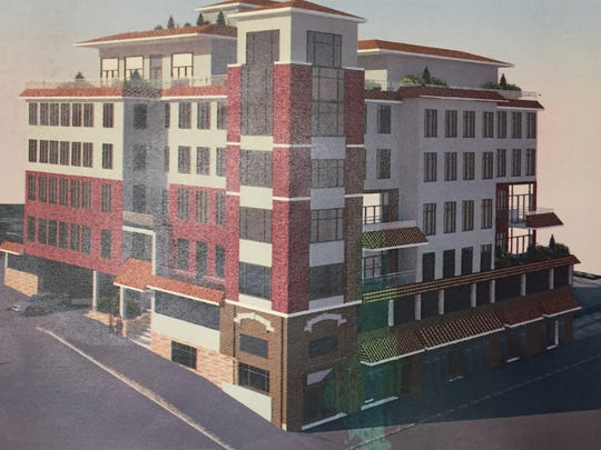An artist's rendering of an apartment building proposed for 224 Gramatan Ave. in Mount Vernon.
