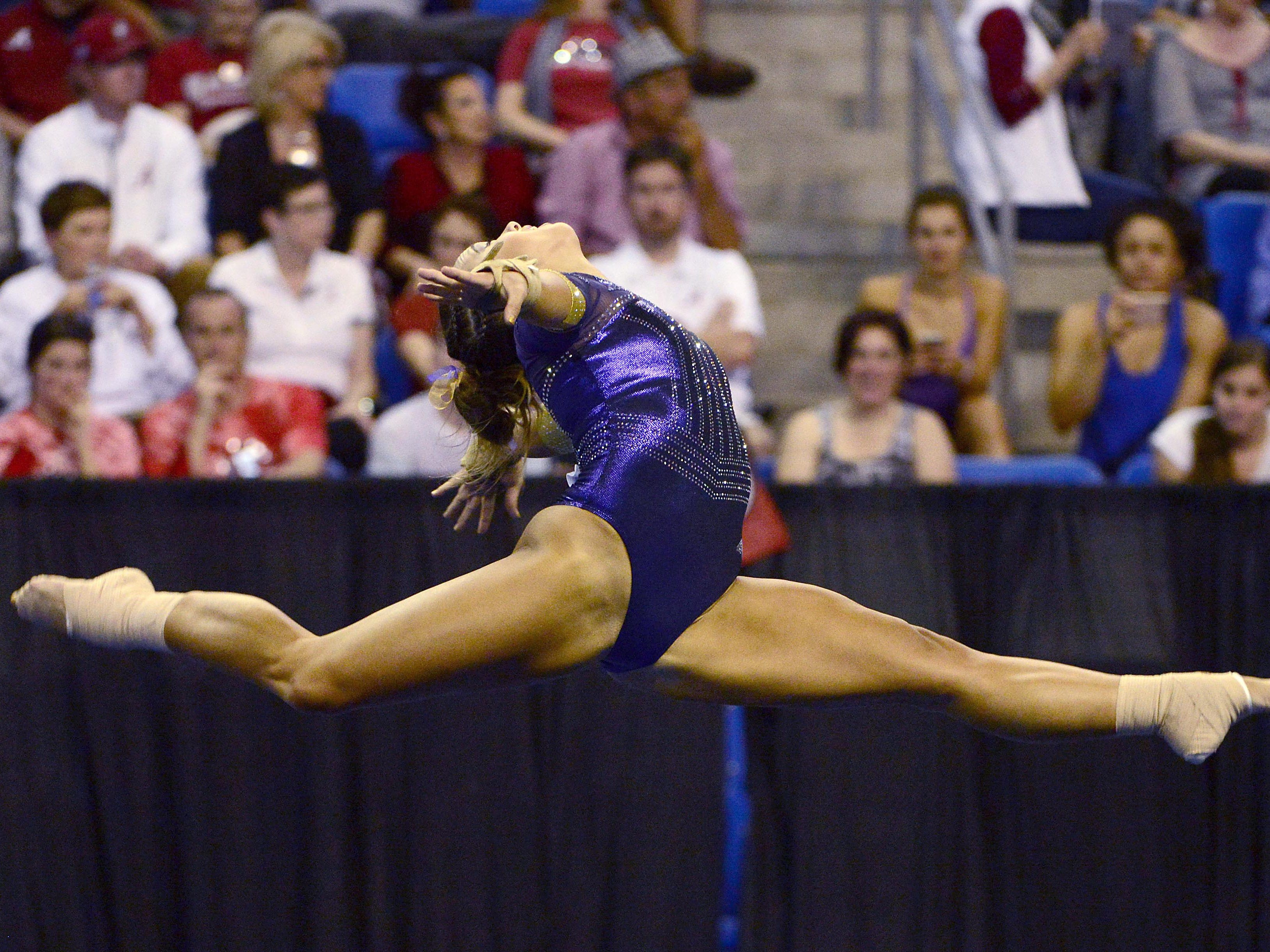 LSU Tigers gymnast Ashleigh Gnat performs a floor routine during the finals of the 2017 NCAA Women's Gymnastics Championships at Chaifetz Arena.