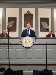 Gov. John Carney addresses a joint session of the General