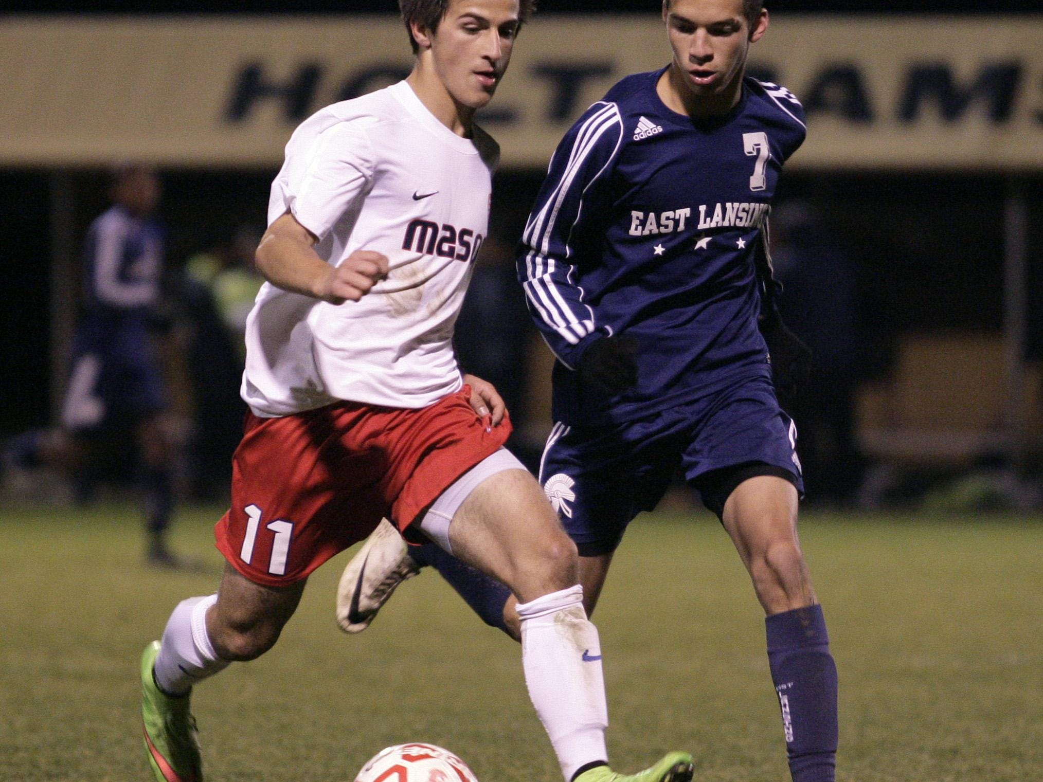 Mason's Leutrim Shefkiu, left, and East Lansing's Zach Lane are among the top returning players in mid-Michigan.