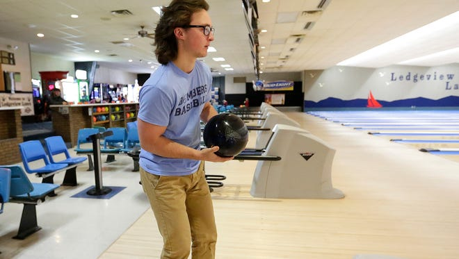 Fond du Lac bowler Blake Schmidt gets set to bowl a frame at Ledgeview Lanes Saturday Dec. 10, 2016. Schmidt bowled an 889 series December 7 breaking the Fond du Lac series record by 1 pin which was held since 2009.