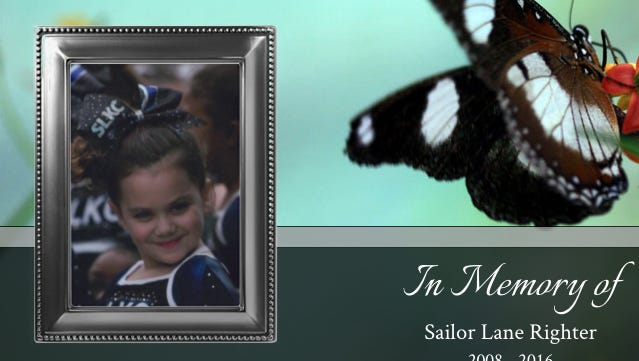 An online funeral home notice announcing the death of Sailor Righter, 8, of Stratford.