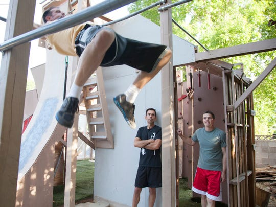 American Ninja warrior contestants from St. George prepare to compete in the upcoming event Tuesday, May 3, 2016.