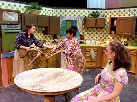 "Kathleen Jenkins (from left) plays Lenny, Benita Graham is Chick and Chloe Husted is Babe in Angelo Civic Theatre's production of ""Crimes of the Heart."""