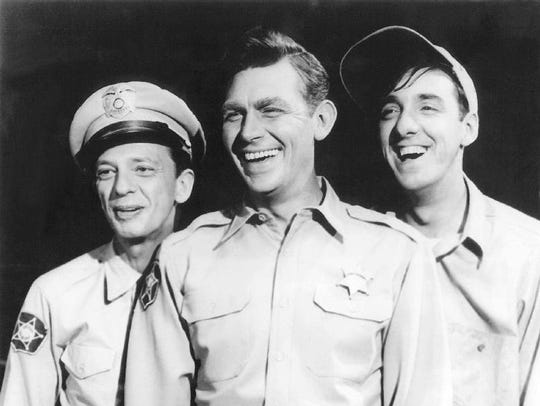 Don Knotts, from left, as Deputy Barney Fife, Andy