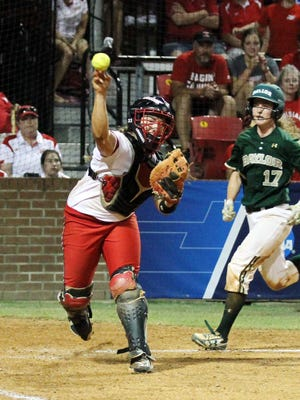 UL catcher Lexie Elkins, shown here turning a double play last season, leads the No. 7 Cajuns against No. 5 Oregon this weekend at Lamson Park.