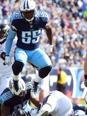 Tennessee Titans linebacker Jayon Brown celebrates
