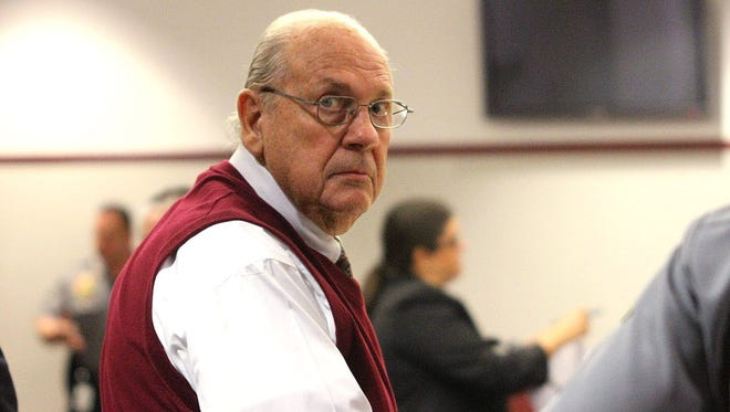 In this Feb. 5, 2014 file photo, Curtis Reeves looks into the gallery Wednesday, Feb. 5, 2014, during a court bond hearing in Dade City, Fla.
