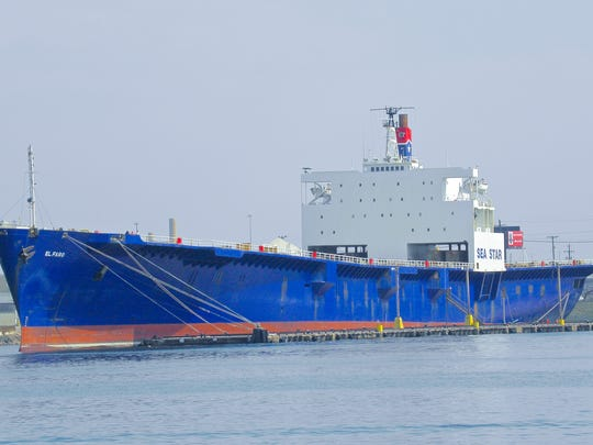 The El Faro cargo ship docked in Baltimore on March 21, 2010.
