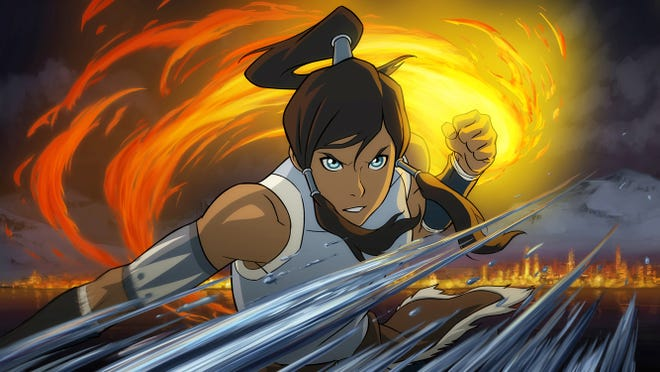 Pictured:  Korra displays earth, water and firebending in THE LEGEND OF KORRA on Nickelodeon.    Photo: Nickelodeon.  ©2012 Viacom, International, Inc.  All Rights Reserved [Via MerlinFTP Drop]