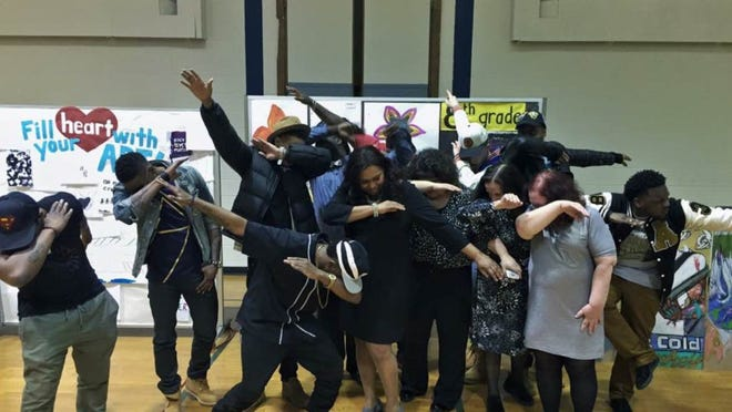"""The CAST Tour, Boynton Middle School Administrator and Staff """"Dab"""" for Creative Arts"""