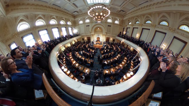 Gov. Chris Christie delivers his state of the state address in Trenton, Tuesday 10, 2017.