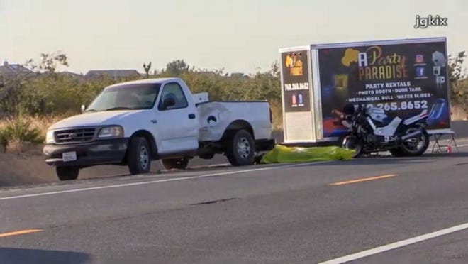 A motorcyclist was killed Friday, June 19, 2020, on Highway 395 after crashing into a pickup truck.