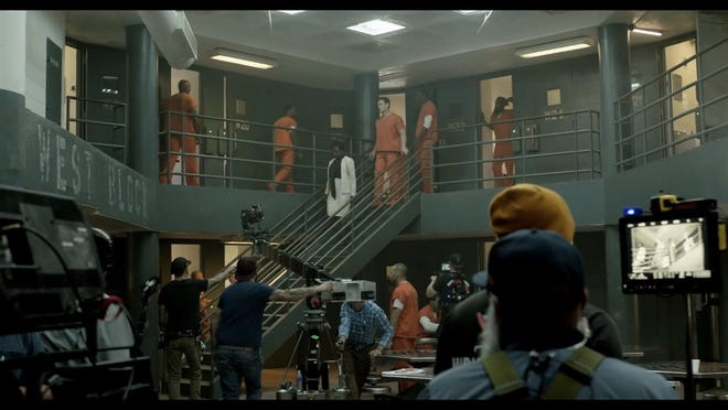 Academy Award winning actress Viola Davis, white and black clothing, during one of the scenes filmed inside the Old Joint Law Enforcement Center for the movie, 'The Suicide Squad'.