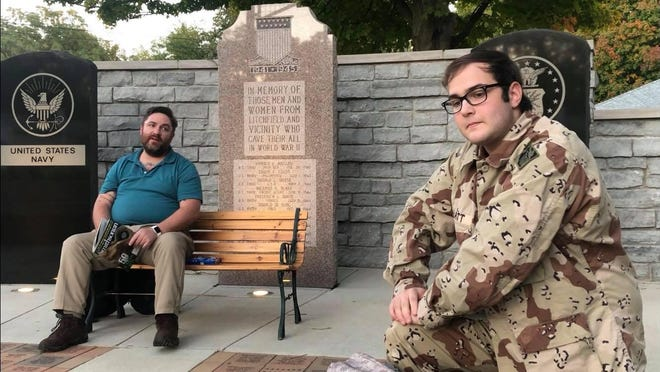 """A scene from """"At the Wall,"""" is one of 11 short plays being streamed in the """"Sauk Shorts."""" This short play was recorded at the Veteran's Memorial in Litchfield."""