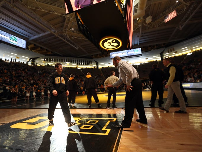 Iowa's Michael Kemerer is introduced before the Hawkeyes'