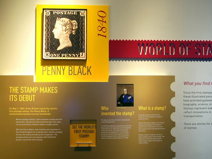 The world's first postage stamp is displayed at the Smithsonian National Postal Museum in Washington, D.C.