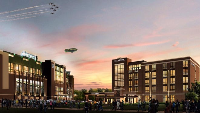 This is an artist's rendition of Lodge Kohler, to be built in the Titletown District west of Lambeau Field. Lodge Kohler will be a 150-room, four-star hotel.