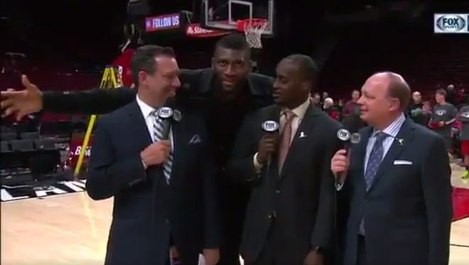 Trail Blazers' Festus Ezeli doesn't realize he's crashed the Grizzlies' broadcast.