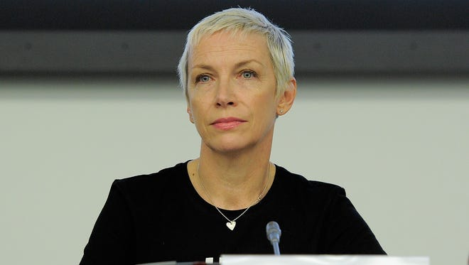 Annie Lennox attends the UN conference on AIDS at the United Nations on June 7, 2011 in New York City.