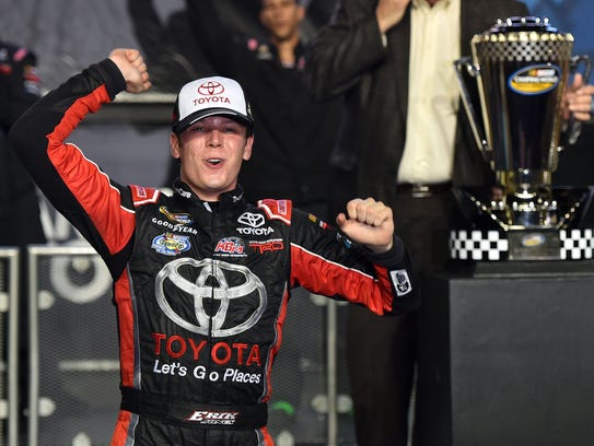 Erik Jones celebrates after winning the 2015 NASCAR