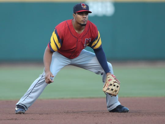 Mud Hens third baseman Jeimer Candelario at third base during fourth inning action against the Columbus Clippers Friday, August 4, 2017, at Huntington Park in Columbus, Ohio.