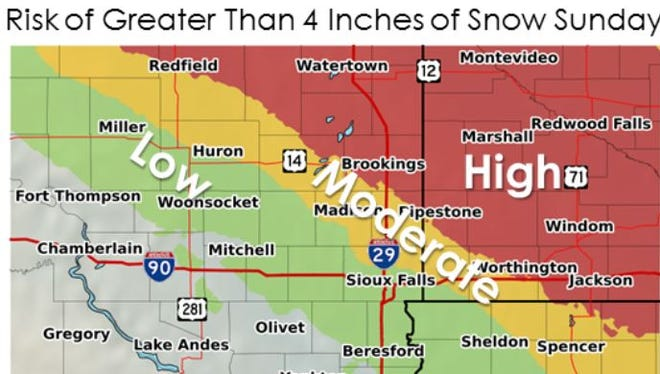 Change of more than 4 inches of snow on Sunday.