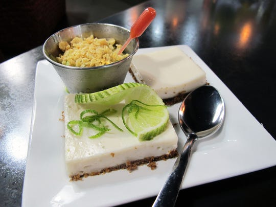 """Samples of a trio of desserts coming soon to Delicious Raw include, clockwise from top, """"rawvocado"""" ice cream and vegan cheesecake and a key lime cream bar."""
