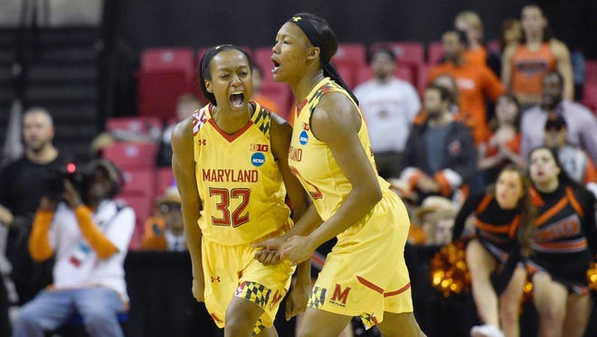 Maryland's Shatori Walker-Kimbrough, left, and A'Lexus Harrison react to a play on the court against Princeton.